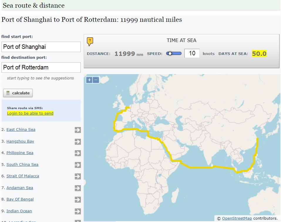 Sea Route and Sea Distance Calculator