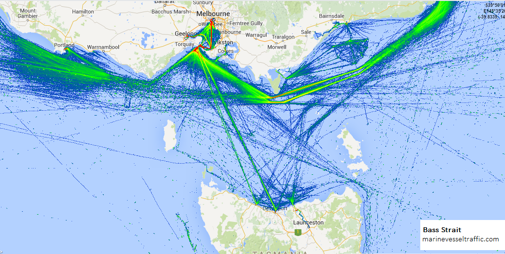 Live Marine Traffic, Density Map and Current Position of ships in BASS STRAIT