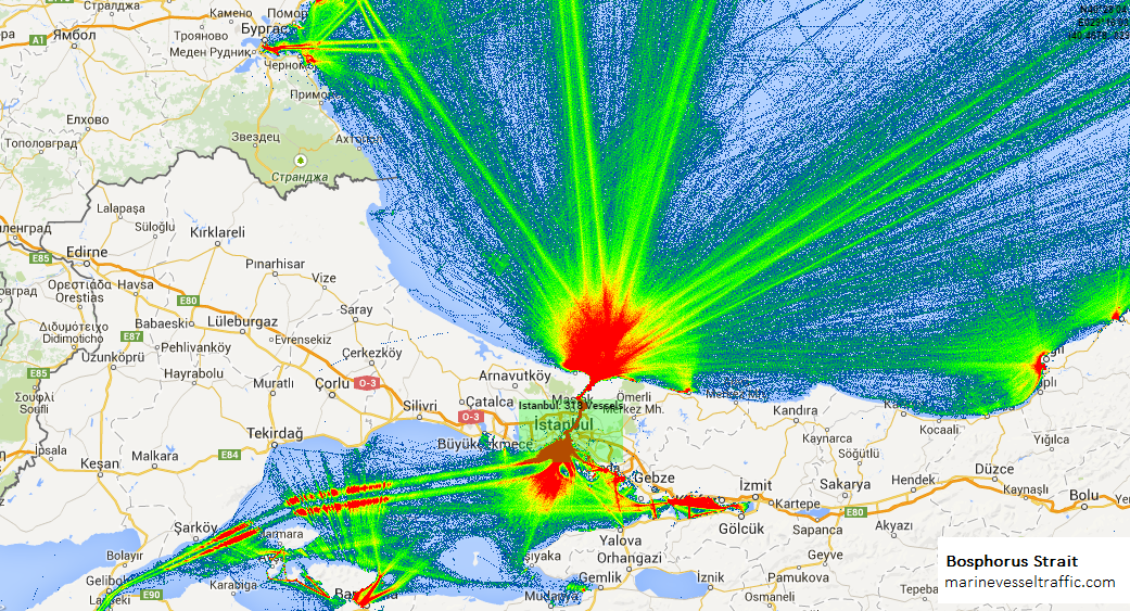 Live Marine Traffic, Density Map and Current Position of ships in BOSPHORUS STRAIT