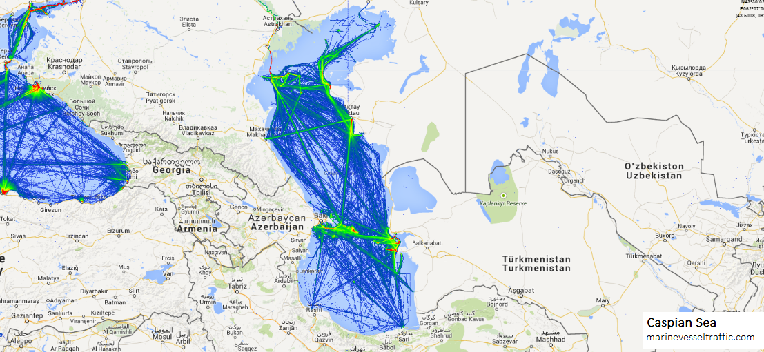 Live Marine Traffic, Density Map and Current Position of ships in CASPIAN SEA