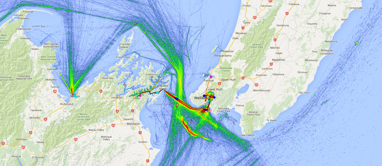 Live Marine Traffic, Density Map and Current Position of ships in COOK STRAIT