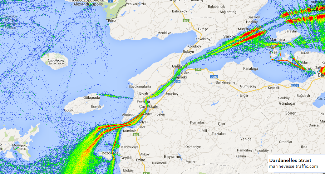 Live Marine Traffic, Density Map and Current Position of ships in DARDANELLES STRAIT
