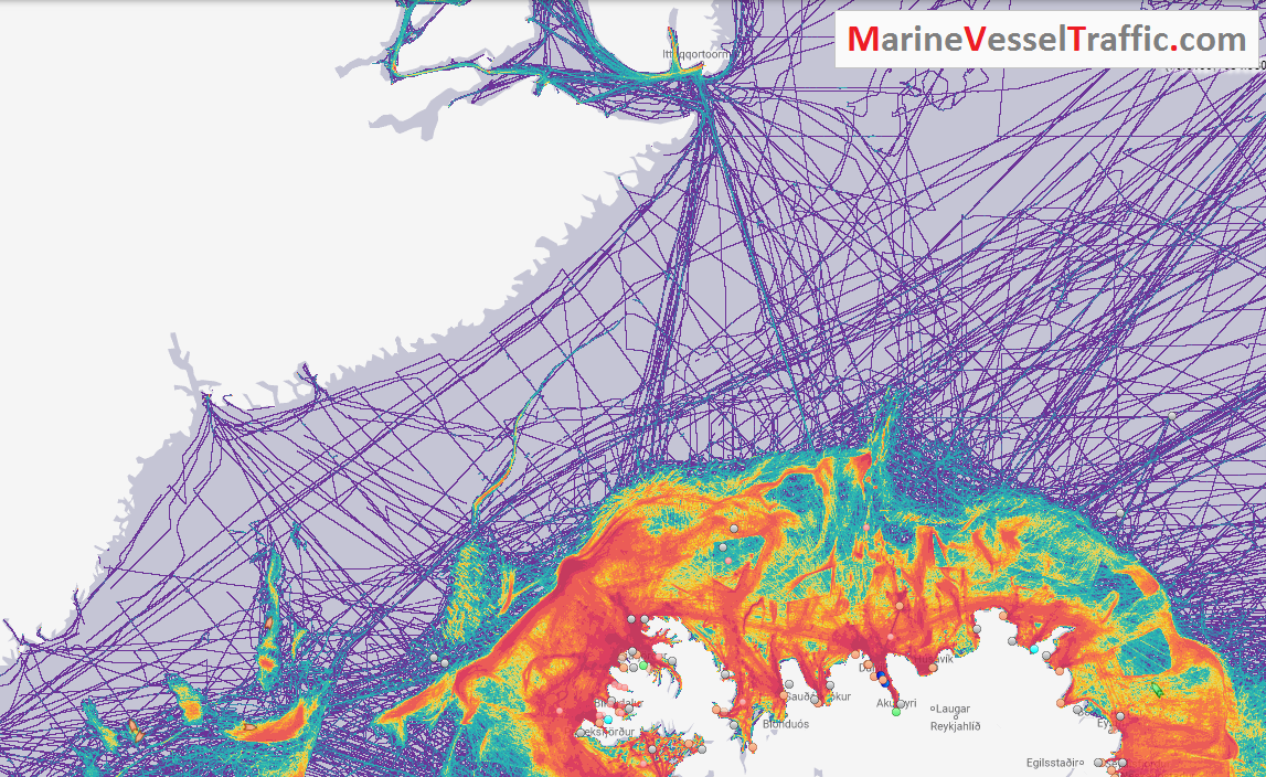 Live Marine Traffic, Density Map and Current Position of ships in DENMARK STRAIT