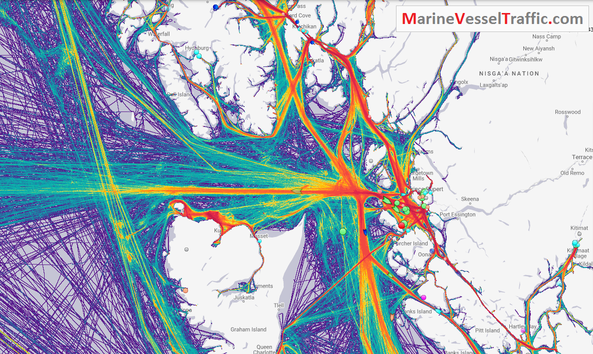 Live Marine Traffic, Density Map and Current Position of ships in DIXON ENTRANCE CHANNEL