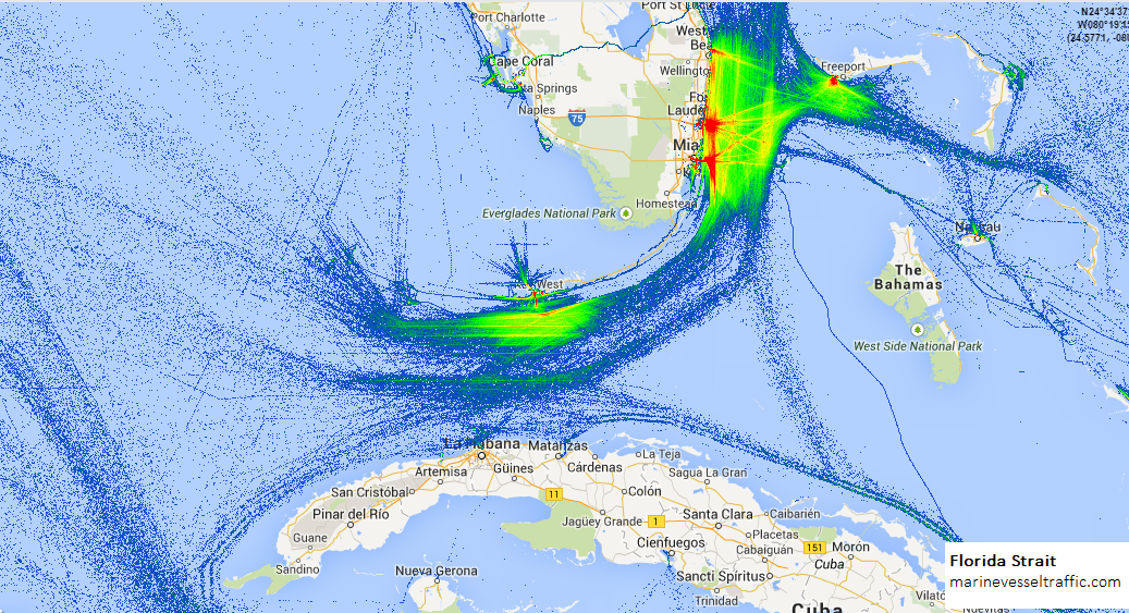 Live Marine Traffic, Density Map and Current Position of ships in FLORIDA STRAIT