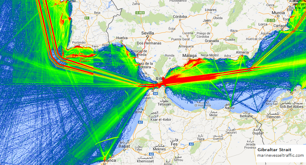 Live Marine Traffic, Density Map and Current Position of ships in GIBRALTAR STRAIT