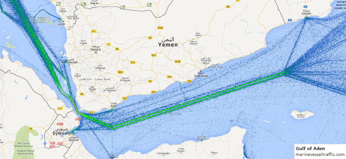 Live Marine Traffic, Density Map and Current Position of ships in GULF OF ADEN