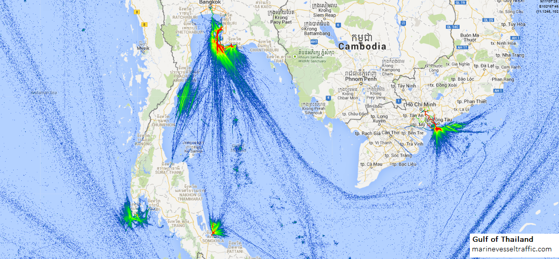 Live Marine Traffic, Density Map and Current Position of ships in GULF OF THAILAND