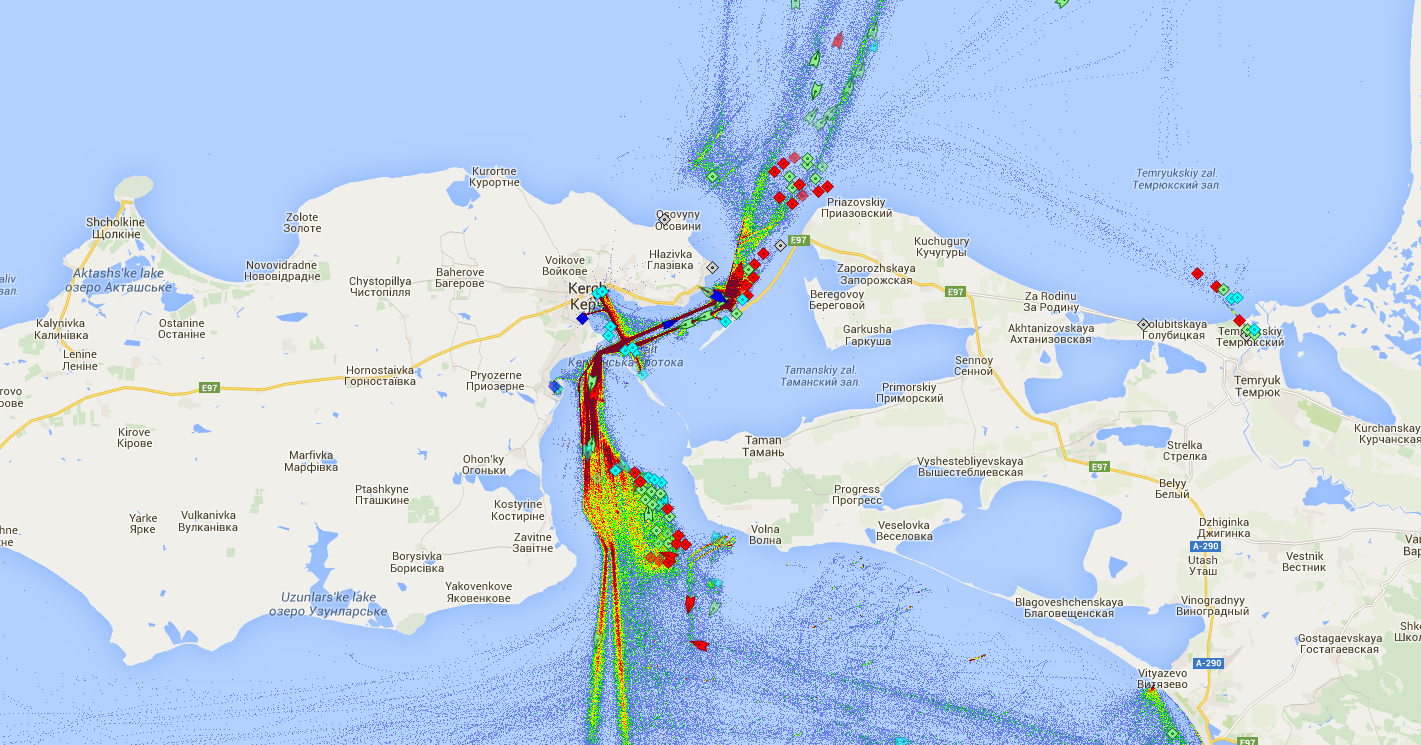 Live Marine Traffic, Density Map and Current Position of ships in KERCH STRAIT