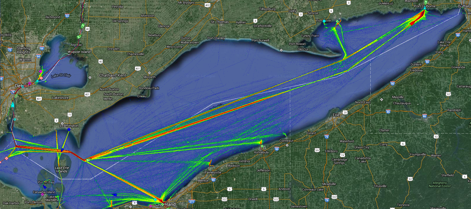Live Marine Traffic, Density Map and Current Position of ships in LAKE ERIE