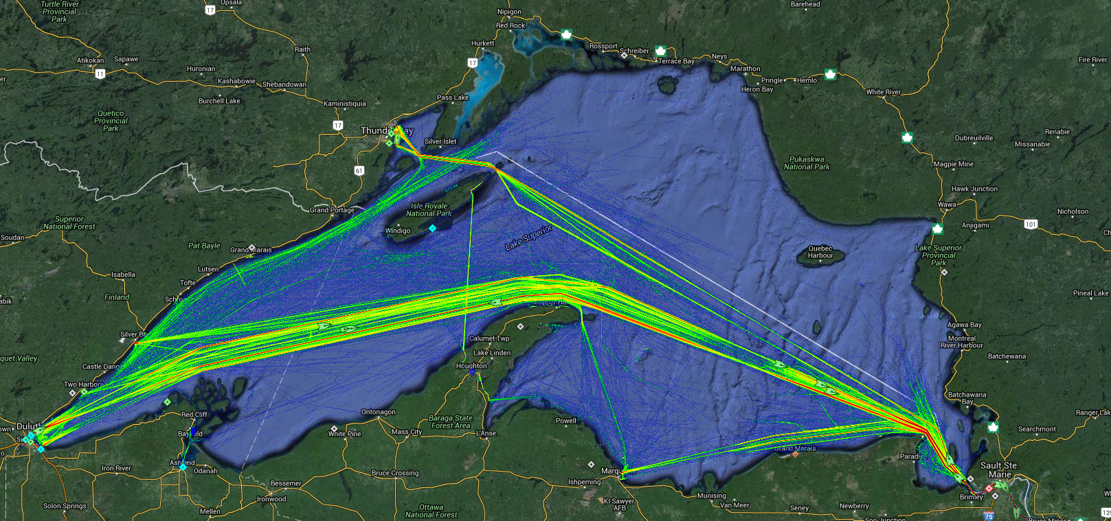 Live Marine Traffic, Density Map and Current Position of ships in LAKE SUPERIOR