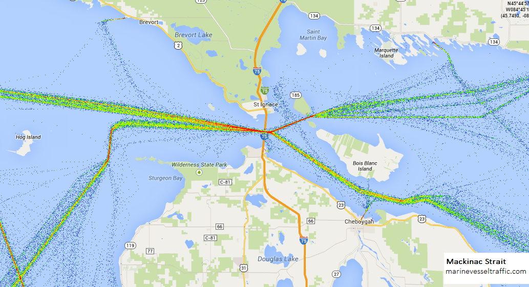 Live Marine Traffic, Density Map and Current Position of ships in MACKINAC STRAIT