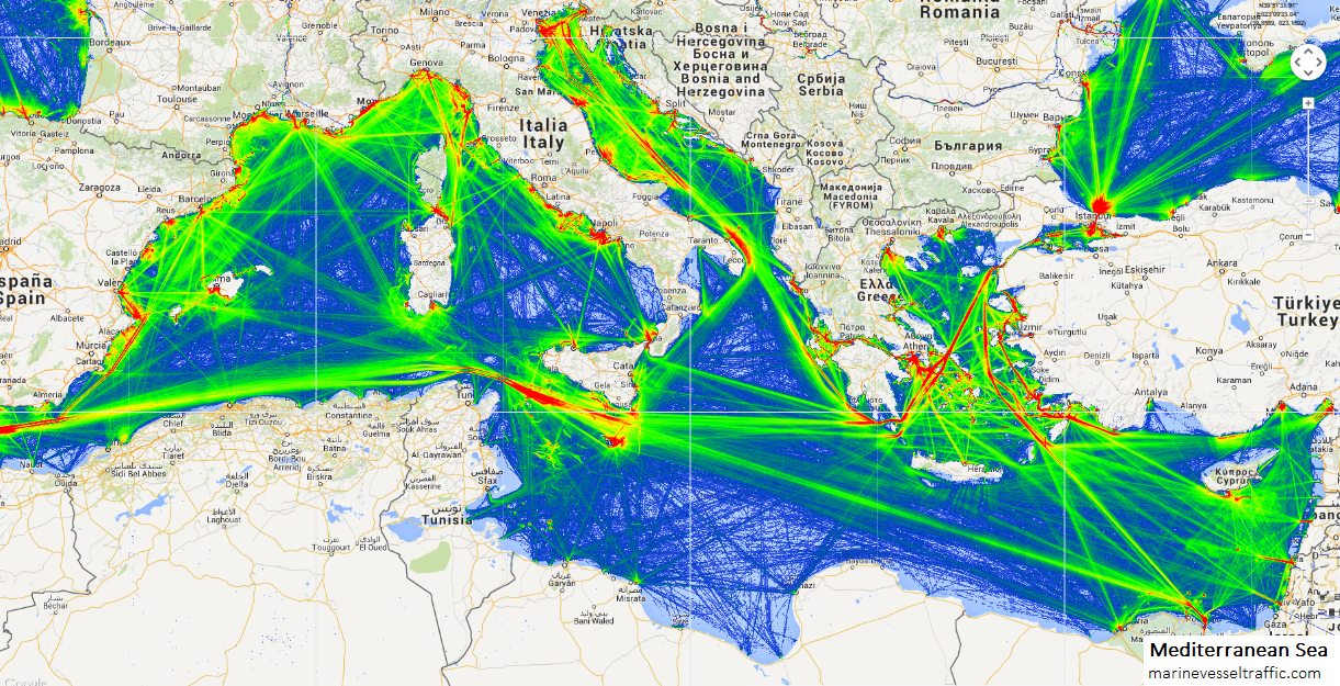 Live Marine Traffic, Density Map and Current Position of ships in MEDITERRANEAN SEA