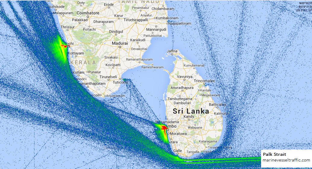 Live Marine Traffic, Density Map and Current Position of ships in PALK STRAIT