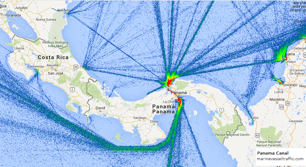 Live Marine Traffic, Density Map and Current Position of ships in PANAMA CANAL