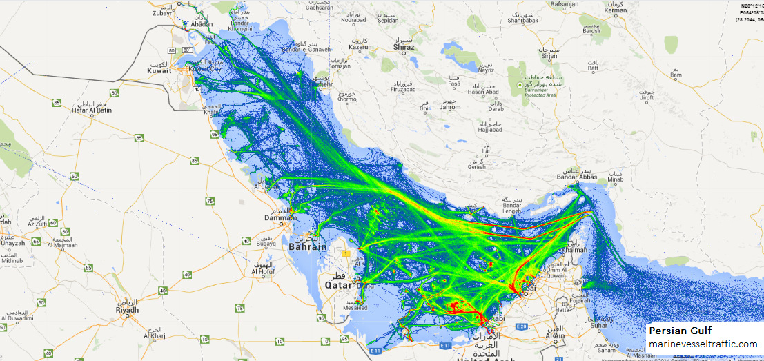Live Marine Traffic, Density Map and Current Position of ships in PERSIAN GULF