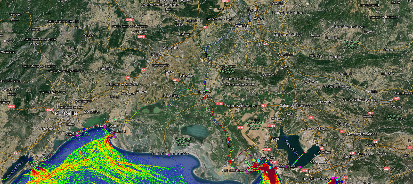 Live Marine Traffic, Density Map and Current Position of ships in RHONE RIVER