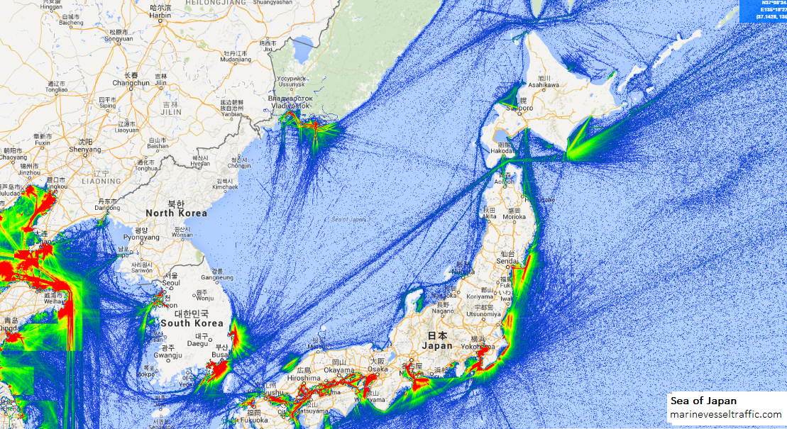 Live Marine Traffic, Density Map and Current Position of ships in SEA OF JAPAN