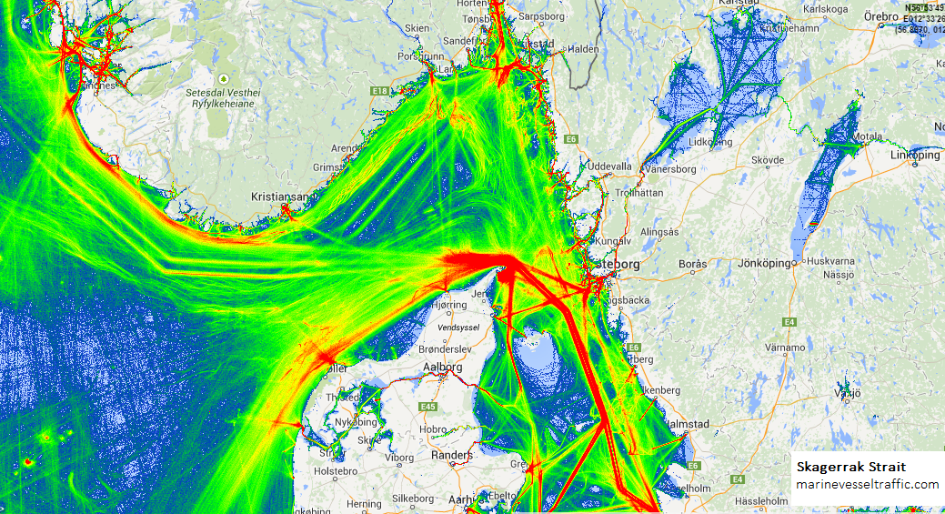 Live Marine Traffic, Density Map and Current Position of ships in SKAGERRAK STRAIT