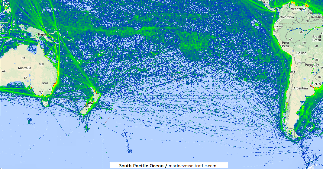 Live Marine Traffic, Density Map and Current Position of ships in SOUTH PACIFIC OCEAN