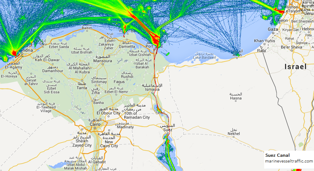 Live Marine Traffic, Density Map and Current Position of ships in SUEZ CANAL AIS