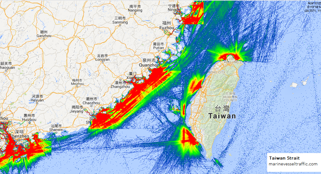 Live Marine Traffic, Density Map and Current Position of ships in TAIWAN STRAIT