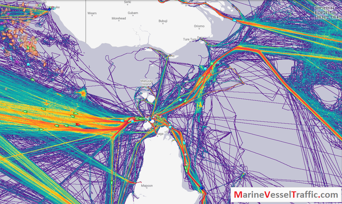 Live Marine Traffic, Density Map and Current Position of ships in TORRES STRAIT