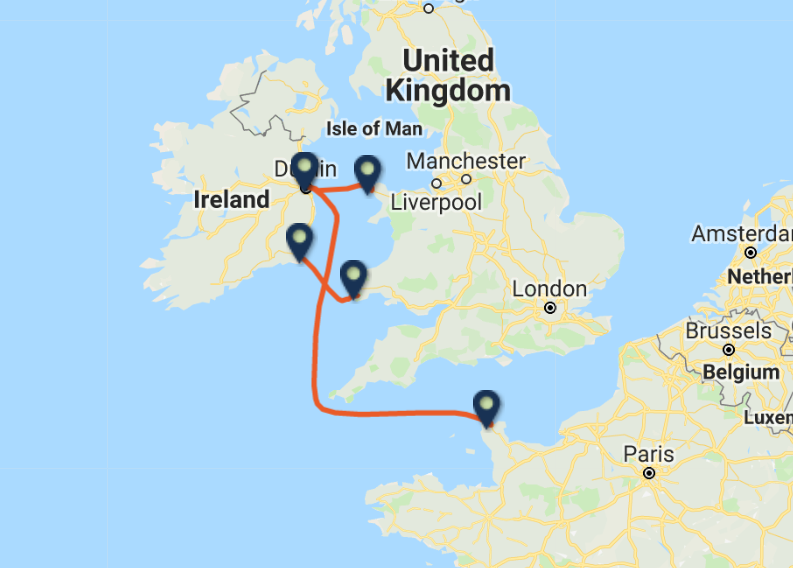 IRISH FERRIES routes
